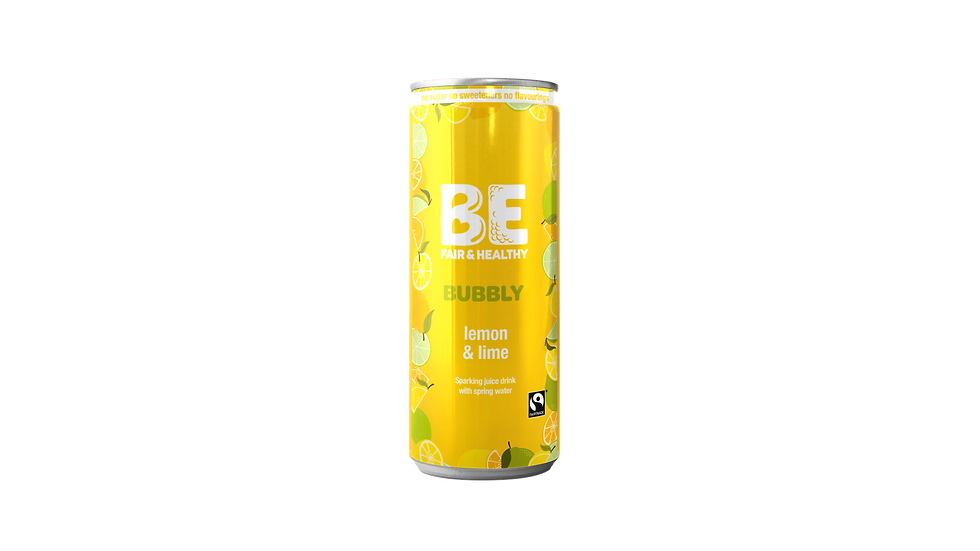 BE BUBBLY Fairtrade Lemon & Lime sparkling juice drink 24 x 250 ml 250 mls