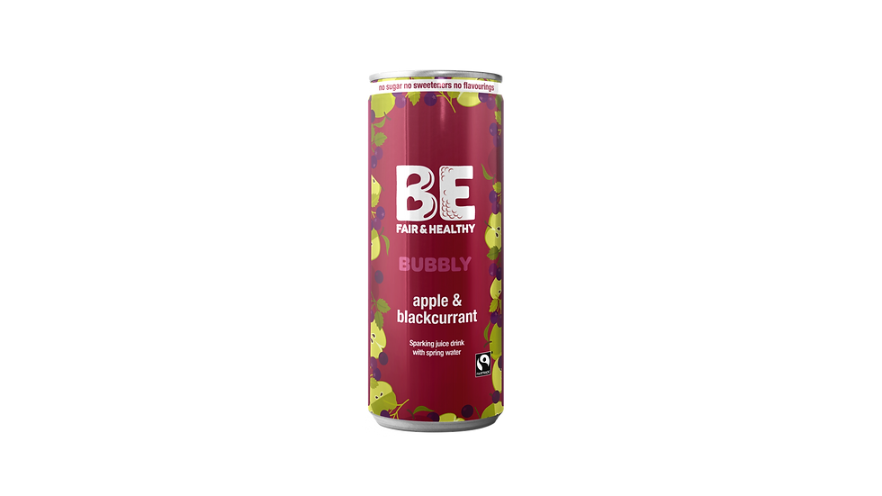 BE BUBBLY Fairtrade Apple & Blackcurrant sparkling juice drink 24 x 250 mls