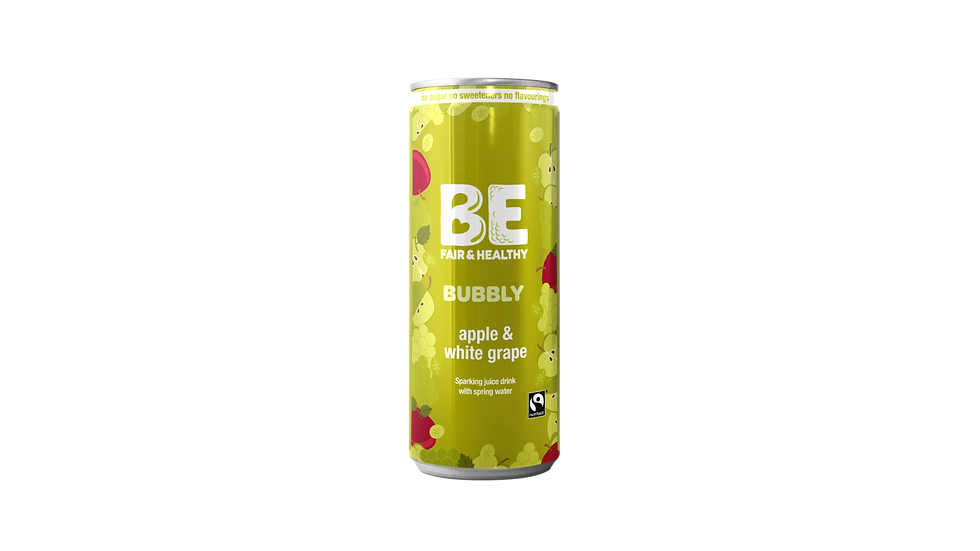 BE BUBBLY Fairtrade Apple & White Grape sparkling juice drink 24 x 250 mls