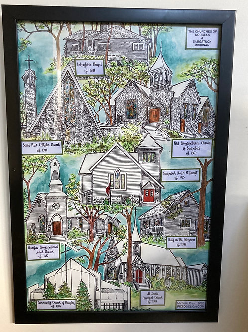 Saugatuck/Douglas Churches Ltd Ed Prints