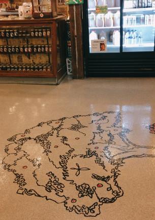 Floor Mural During Process