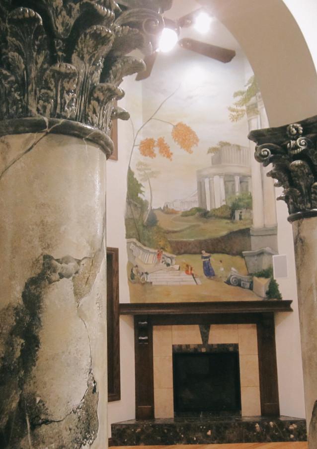 Faux Marble Pillars & Mural