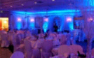 Blue dining room uplighting