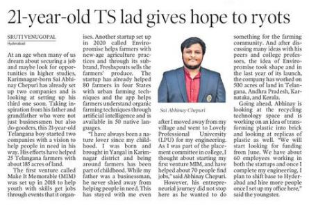 21-year-old Telangana lad gives hope to farmers