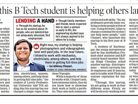 An Article got Published in Times of India