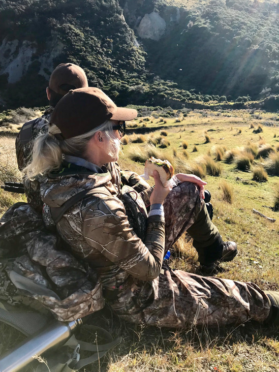Lunch break on a red stag hunting New Zealand