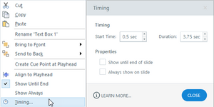 popup to adjust timing on elearning objects
