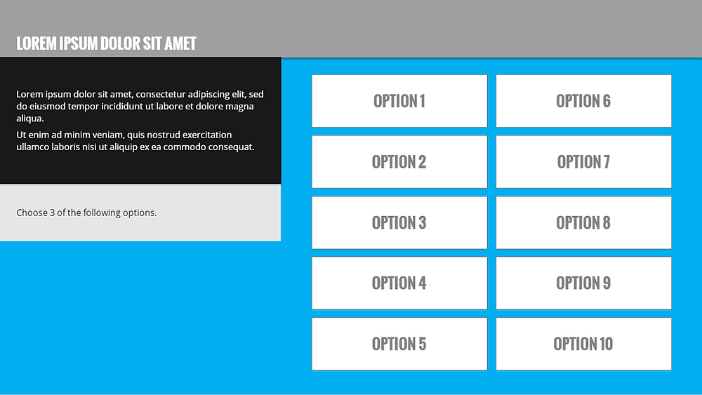 Generic elearning slide with 10 options