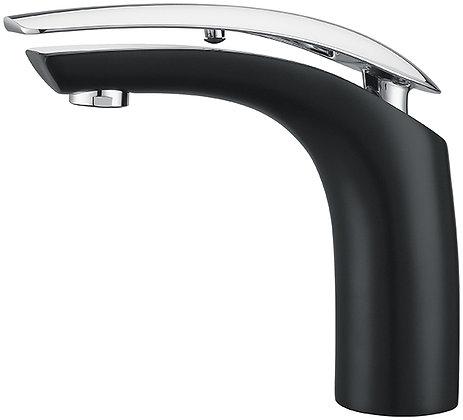 611000B+C - Black/Chrome Single Hole Bathroom Faucet