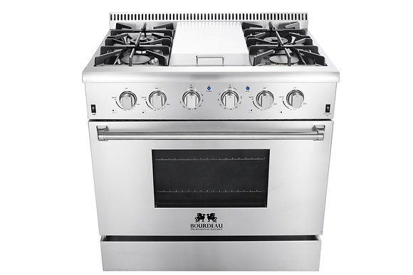 BGRG3617U 36″ PROFESSIONAL STEEL GAS RANGE WITH GRIDDLE
