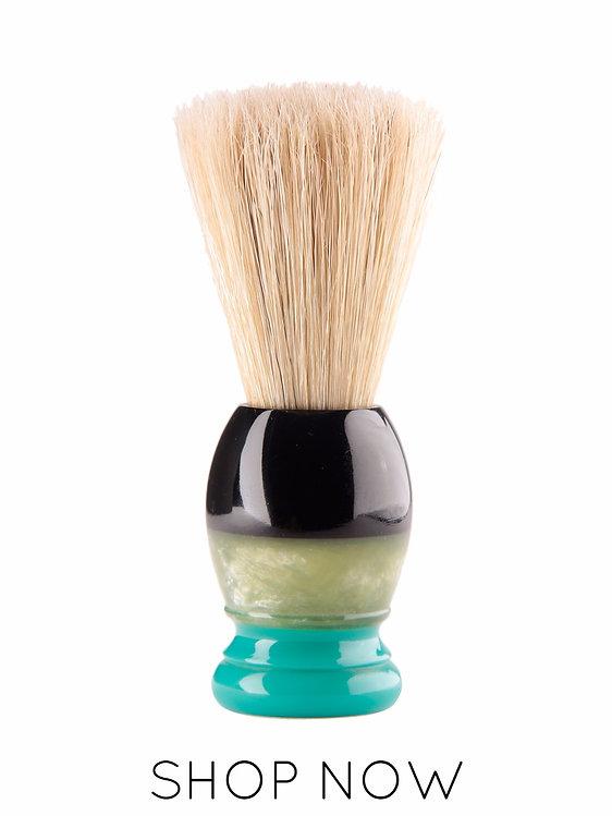 Resin handle shaving brush for wet shave