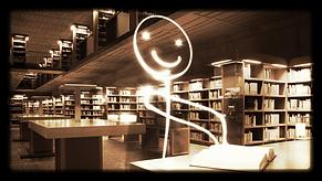 Bonhomme virtuel lisant un livre dans une bibliothèque