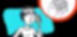 dessin d'une femme au téléphone sur fond bleu turquoise