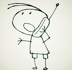Bonhomme dessiné au téléphone