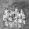dessin noir et blanc d'un groupe de personnes en blouses blanches