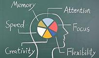 dessin cerveau et fonctions cognitives sur un tableau noir