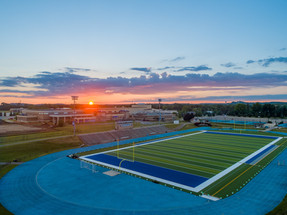 Aerial-Photography-Football-Field-Sunset