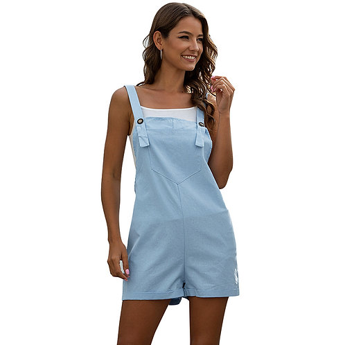 Woman Pocket Button Casual Strap Rompers