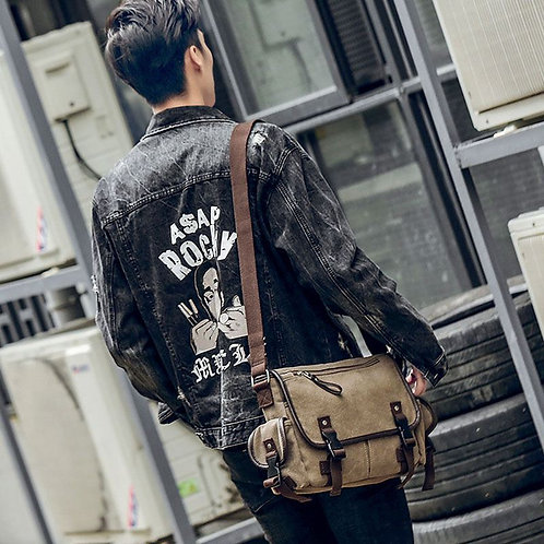 Fashion Young Men Good Quality Durable Canvas Crossbody Bag