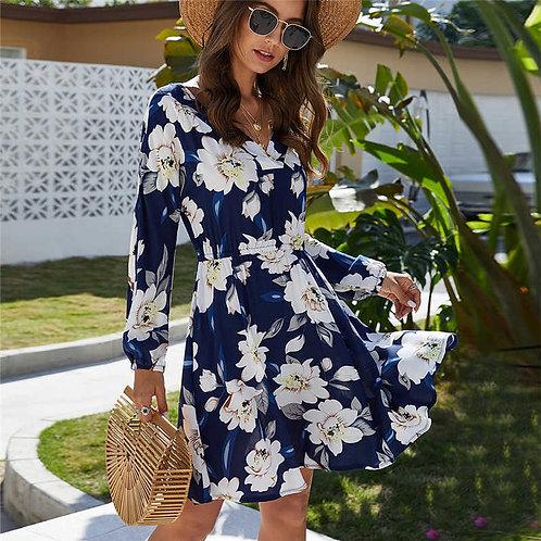 Women Backless Floral Print Long-sleeve Caual Dress