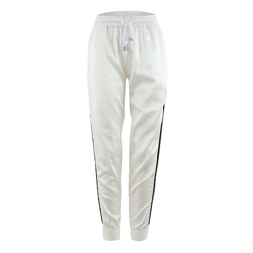 Women Elastic Waist Stripe Design Casual Pants
