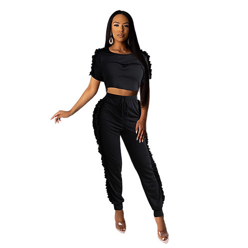 Pcs/sets Women Solid Color Stringy Selvedge Short-sleeve Crop Top And Pants
