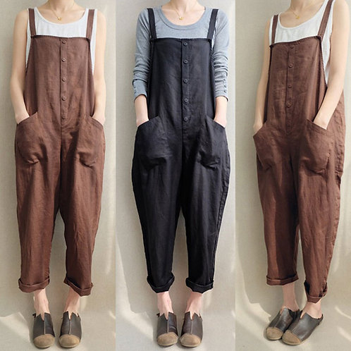 Women Solid Color Fashion Loose Pocket Patchwork Single-breasted Jumpsuits