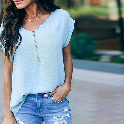 Fashion V-neck Solid Color Zipper Short Sleeve T-shirt