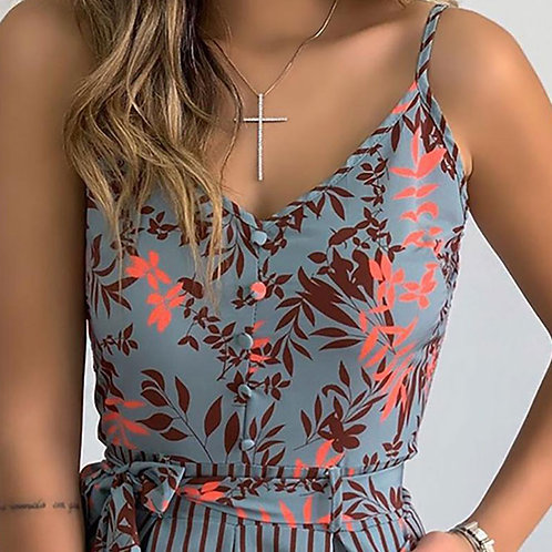 Women Casual V-neck Fashion Leaf Print Lace-up Striped Rompers