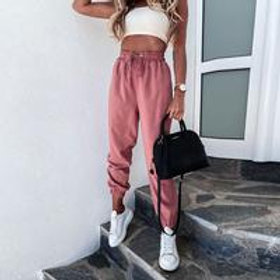 Women Fashion Solid Color Casual Drawstring Waist Sports Pants