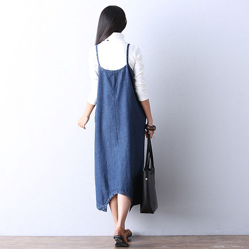 Women Fashion Loose Two Wearing Ways Denim Jumpsuits Dress