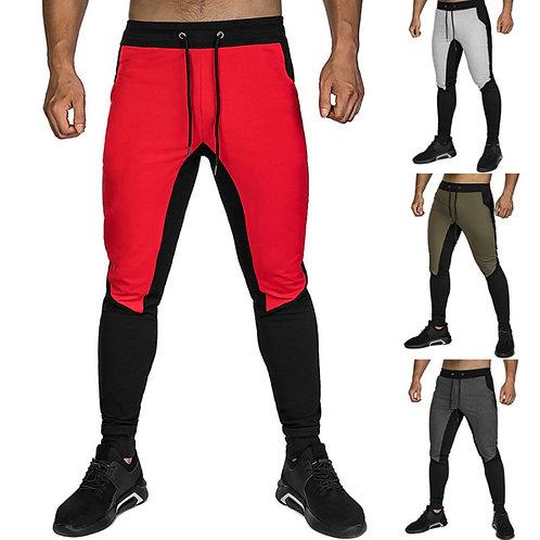 Contrast Color Men Drawstring Sports Jogger Pants