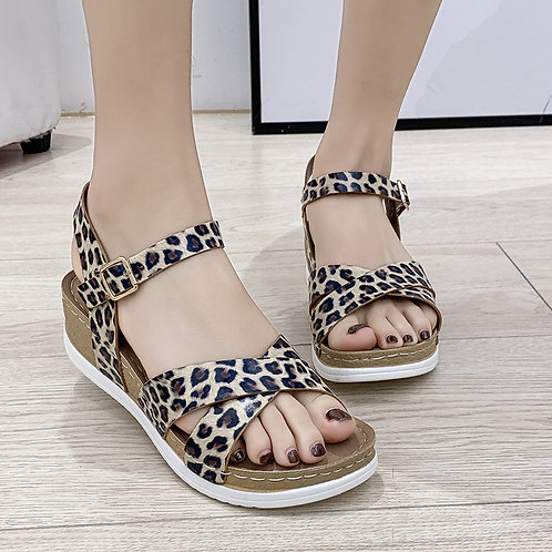 Women Fashion Leopard Platform Sandals Shoes