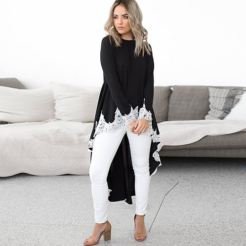 Women Round Collar Long-sleeve Lace Patchwork High-low Hemline Dress