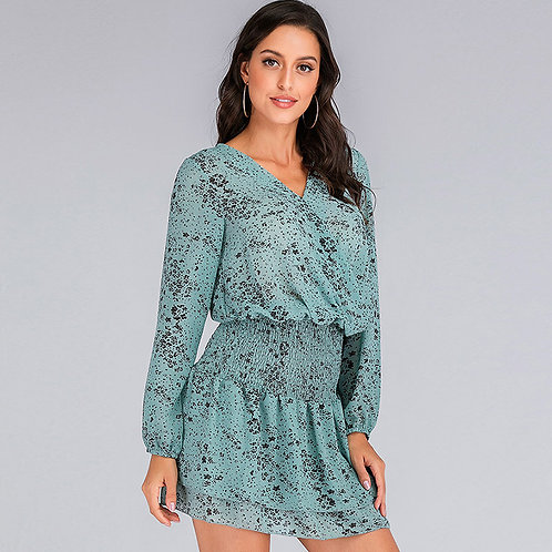 Deep V-neck Long-sleeve Floral Print Defined Waist Boho Mini Dress