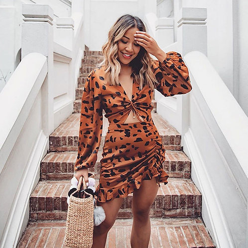 Long-sleeve V-neck Hollow Leopard Flounced Dress