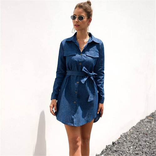 Women Casual Single-breasted Long-sleeve Denim Shirt Dress
