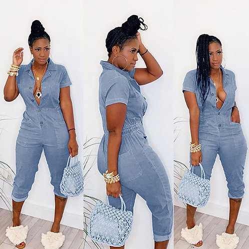 Women Fashion Pocket Design Single-breasted Seven Points Cropped Jumpsuits