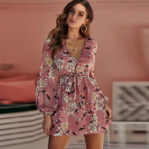 V-neck Lantern Long-sleeve Floral Print Drawstring Mini Dress