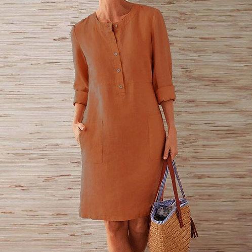 Women Cotton Linen Round Neck Button Solid Pocket Long Sleeve Casual Dress
