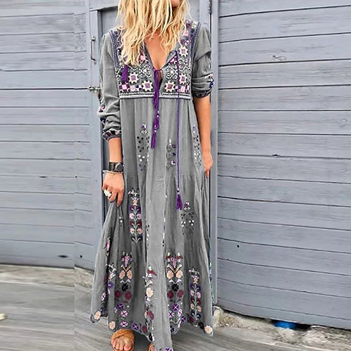 Women Casual Bohemian Long-sleeve Maxi Dress