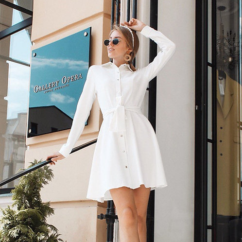 olid Color Lapel Long-sleeve Single-breasted Lace-up Mini Casual Dress