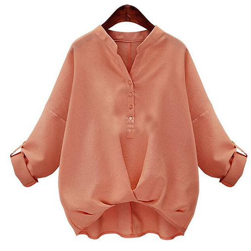 Women Casual Solid Color Stand Collar Long Sleeves Blouses