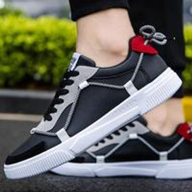 Men Block Color Irregular Design Lace-up Sneakers Shoes
