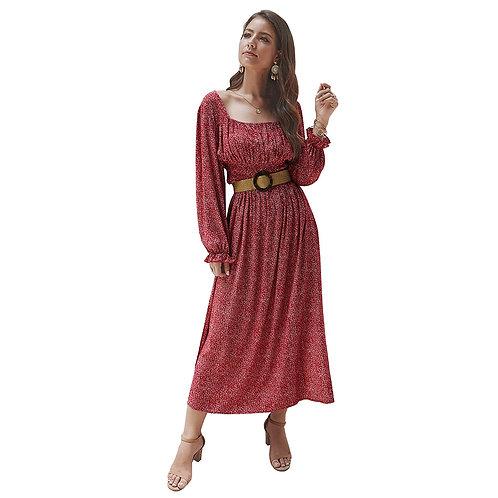 Fashion Square Neck Long-sleeve Fashion Print Defined Waist Side-slit Maxi Dress