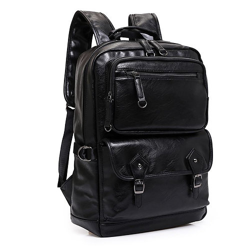 Men Pure Color Large Capacity PU Backpack