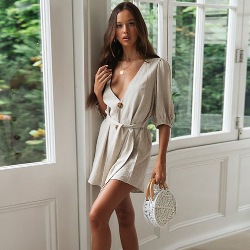 Women Solid Color V-neck Sash Loose Pattern Rompers