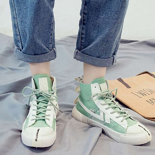 Women High-top Lace-up Flat Canvas Shoes