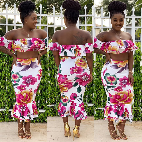 Pcs/sets Off-the-Shoulder Floral Print Crop Top And Bodycon Ruffle Skirt