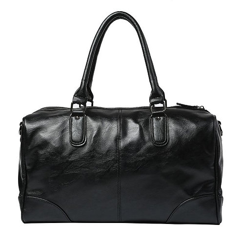 Men Simple Solid Color Design Large Capacity PU Duffle Bag
